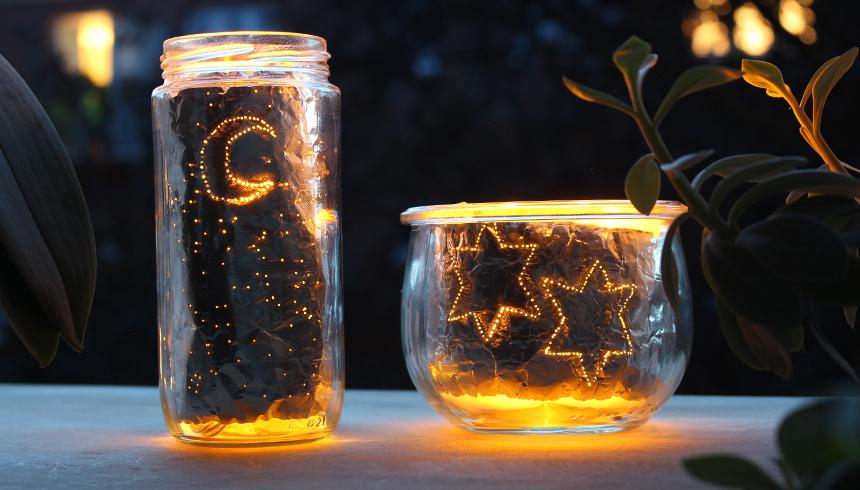 Nachtlampjes zorgen dankzij aluminiumfolie voor sfeer in het donker