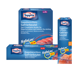 Diepvrieszakjes met Safeloc® van Toppits®